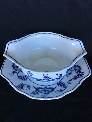 1 Blue Danube Blue Onion Gravy Boat Attached Underplate 2 Available