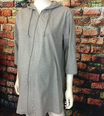 IN DUE TIME women's sz Large gray zip up maternity hoodie 3/4 sleeves #G01
