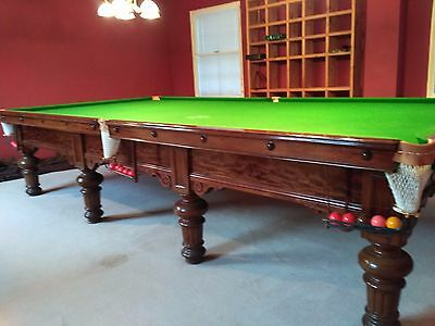 Beautiful Full Size Antique Snooker Table, Burroughes & Watts, B&W