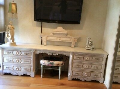 Bedroom set, dresser with two night stands, painted white, shabby chic