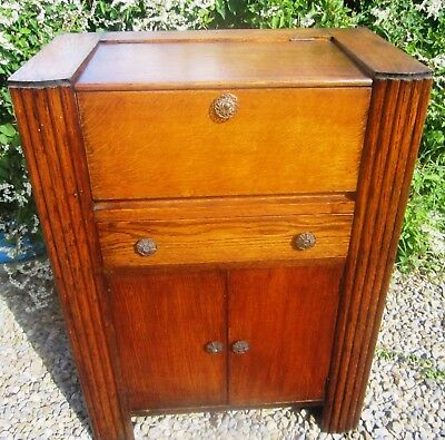 Retro /Vintage 1950's Original Oak Bureau /Desk ideal Chalk Paint Project