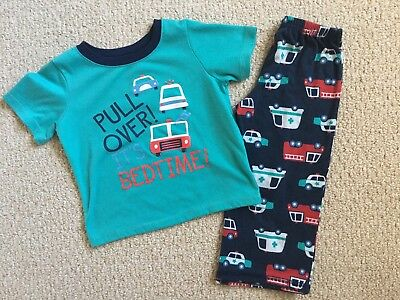 Carter's Just One You for Target Toddler Boys Pajama Fire Truck Vehicles Blue 3T