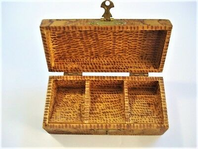 Antique Pyrography Flemish Art Wooden Hinged Stamp Box
