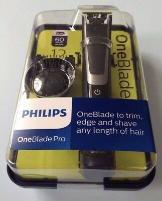 New Philips OneBlade Pro Trimmer Styler Shaver 12-length Comb Wet Dry QP6510/25