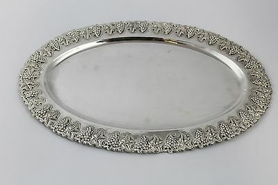 """Vintage Sterling Silver .925 Small 13.5"""" X 9"""" Oval Tray Grapes & Leaves"""