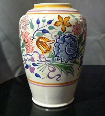 Poole Pottery 1930s Art Deco hand painted large vase (shape/pattern - 966/BN)