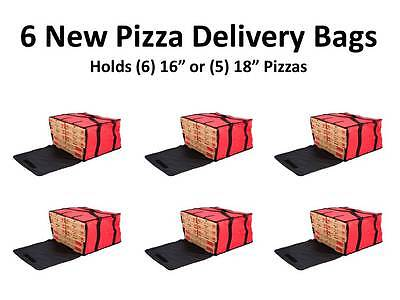 "(6-Pack) 20"" x 20"" x 12"" Red Nylon Insulated Pizza Delivery Bags"