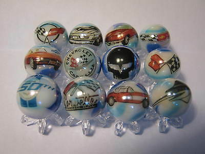 CHEVROLET CORVETTE 5/8 size glass marbles lot collection with stands