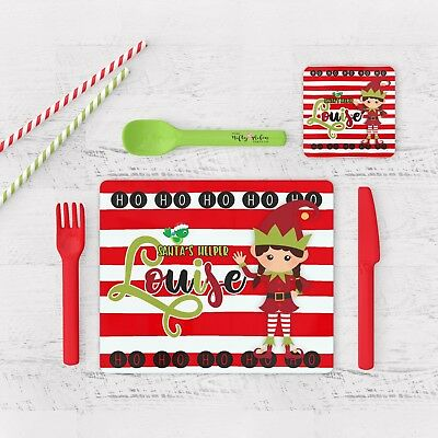 Personalised Childrens Christmas Placemat And Coaster Elf (Girl),xmas Placemat