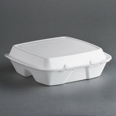 """200 9"""" x 9"""" x 3"""" White Foam 3-Compartment Take Out Container with Hinged Lid"""