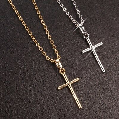 Women's Gold or White Gold Plated Simple Small Silver Cross Pendant Necklace N26