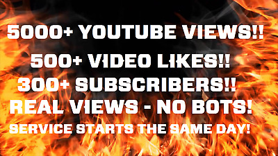 5000 Youtube-Views | 500+Likes  | 300+Subscribers! | Real | Fast And Safe!