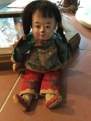Chinese Doll Embroidered Silk Over The Top Clothing Antique Composition