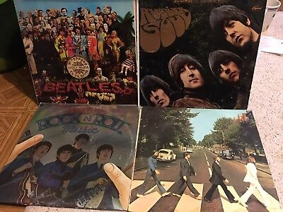 Lot Of Four Opened The Beatles Vinyl Lp Records Abbey Road Rock N Roll Music