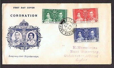 1937 Hong Kong Coronation Illustrated Fdc 12 May 37 Victoria Cds.