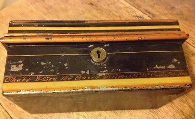 VINTAGE CHUBB & SONS METAL SAFE BOX 128 Queen Victoria Street London With Key