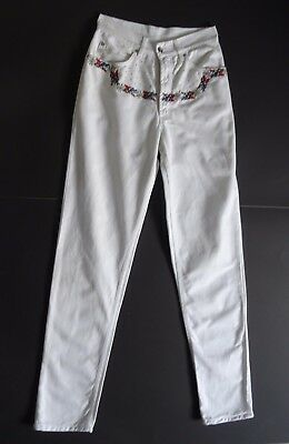 German Bavarian  Ladies White Trachten Pants Edelweiss Embroidery 6