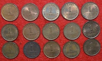 PORTUGAL LOT OF 15 coins  of 1 cent.  ( UNC )