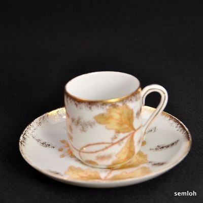 Marx & Gutherz Carlsbad Demi Tasse Cup & Saucer Hand Painted w/Gold 1884-1898