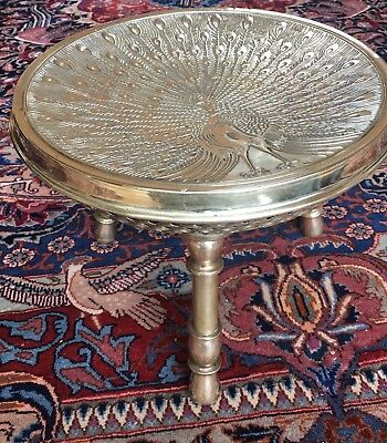 Unusual Antique Brass Foot Stool With Peacock Raised Relief Decoration 19th C.