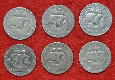 Portugal 6  Silver Coins /  6 X 2$50  ---  Lot