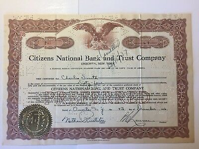 1936 Citizens National Bank & Trust Stock Certificate Oneonta, NY 10 Revenues