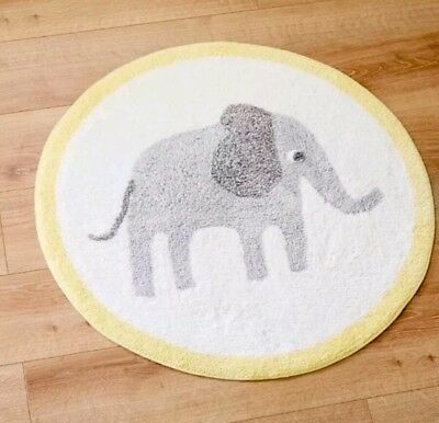NURSERY RUG 100% Cotton Washable Nursery Elephant Rug 🐘 80 x 80cm Mat Bedroom