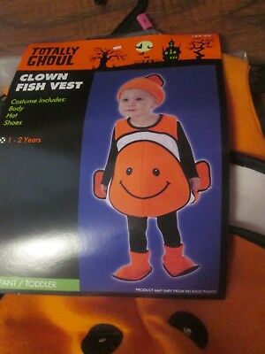 Boys Halloween PLUSH costume CLOWN FISH VEST Hat Shoes siz 1-2 Years 12m-24m $25