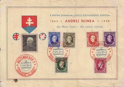 Slovakia 1939 sheet + 1941 censored env with stamps