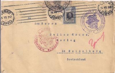 Bulgaria 1917 env with 25 Ct. stamp, to HEIDELBERG/Germany, censored