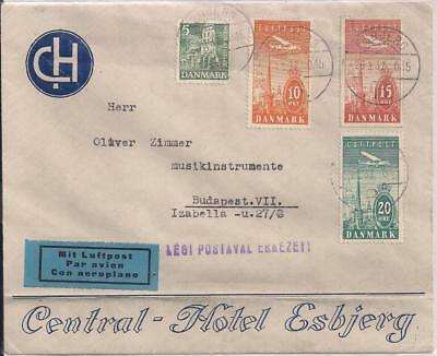 Denmark 1937 hotel env with 4 stamps incl. set of 3 airmails, ESBERG to Hungary