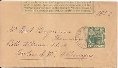 Mauritius 1896? stat wrapper 3 C, CUREPIPE to BERLIN/Germany