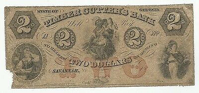 1800's $2 Two Dollar Timber Cutter's Bank Savannah Georgia Currency Note (#5764)