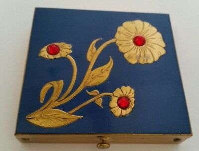 Vintage Rex Fifth Avenue Blue Enamel & Gold Jeweled Flowers Compact. New.