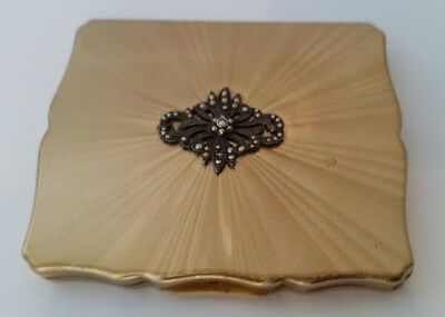 Vintage Stratton Rectangular Scalopped Compact Real Diamond Cut Lid & Marcasite.