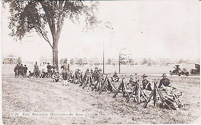 Rare Wwi Ww1 Soldiers At Fort Benjamin Harrison In Real Photo Postcard Rppc Wow