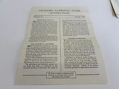 Traders National Bank - The Business Outlook - Scranton Pa  Lot Of 7 Issues 1919