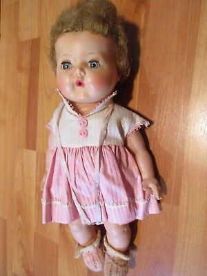 """Vintage 1950's 12"""" American Character Tiny Tears Doll w/ Light Brown Curly Hair"""