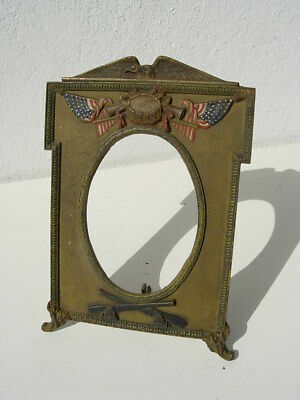 Antique Painted Cast Iron Military Photo Picture Frame