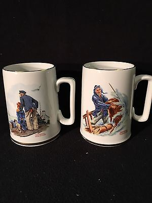 Coffee Cups-Mugs-Norman Rockwell Museum 1985 Nautical Porcelain 24K Gold Trim