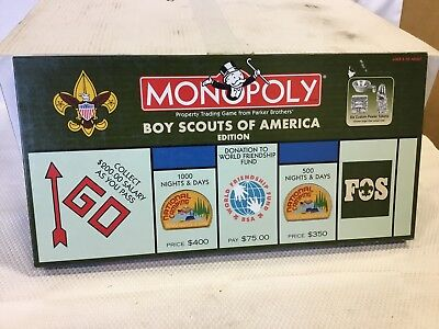 Boy Scout BSA Monopoly Board Game Scouts America Ed. Pewter Medal Tokens VGC!