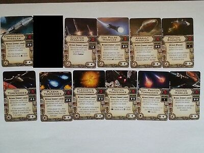 X-wing Miniatures Missiles, Rocket & Torpedoes Set lot 11 upgrade cards! missles