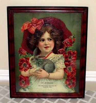 """1890's Victorian Die Cut Trade Sign-Girl Bunny-Store Display-Framed-22"""" X 18"""""""