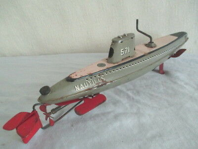 Old SKK NAUTILUS SUBMARINE *Vintage Japan Toy