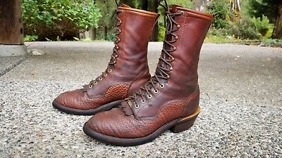 TONY LAMA Rare Vintage Old School Leather Cowboy Packer Roper Boots (Size 11 D)