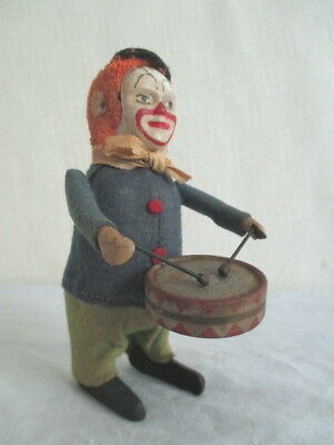 Old German SCHUCO CLOWN DRUMMER *Vintage WIND-UP Germany Circus Toy