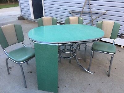 "Vintage ""Holachrome"" Formica & Chrome Kitchen Table W/ 4 Green/Tan Vinyl Chairs"