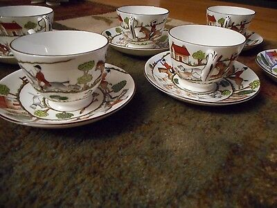 Crown Staffordshire HUNTING SCENE Cup & Saucer  Fox Hounds England Set of 6
