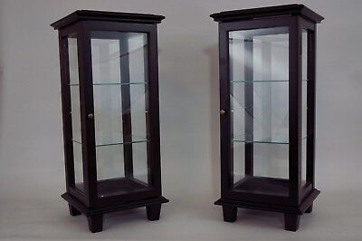 2 small Bombay wood and glass display cabinets with door and glass shelves