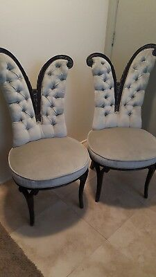 Hollywood Regency French Style Tufted Split Back Boudoir Chairs Set Of (2) Rare